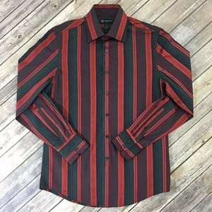 INC Mens Long Sleeve Button Down Striped Shirt, Sm